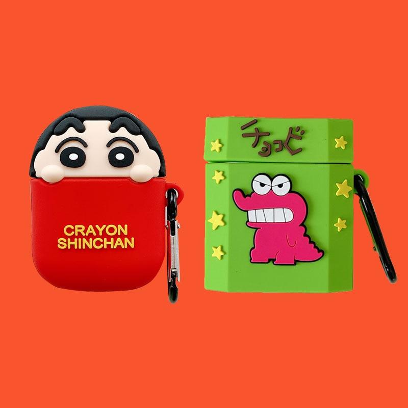 Para AirPods 1/2 / Pro Crayon Shin-chan, funda de silicona para auriculares, funda femenina de silicona creativa, nueva funda suave