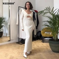 needbo womens dress sexy satin deep v neck maxi party dress solid color long sleeve womens party dress sexy female dresses 2021
