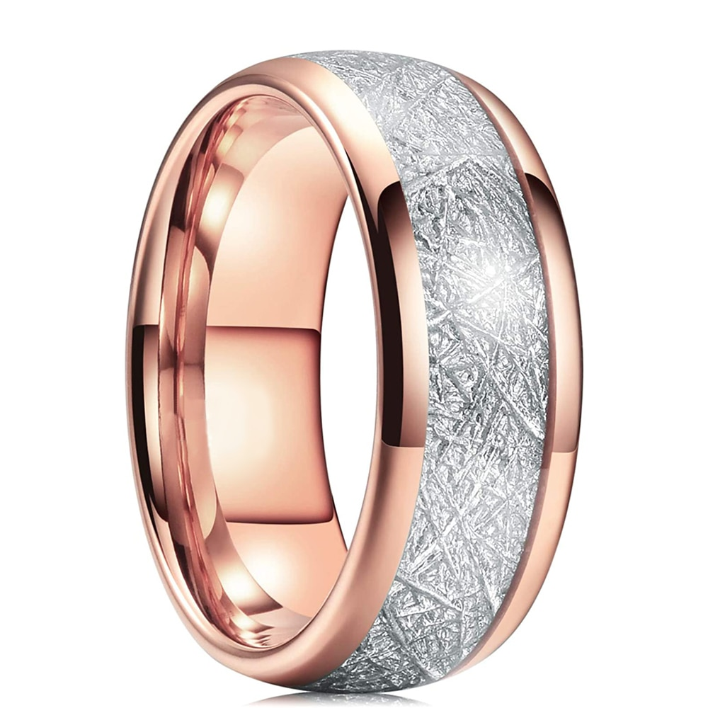 Trendy Four color Men Silver Gold Black Tungsten Carbide Ring Vintage Meteorites Inlaid Dome Promise Mens Wedding Band