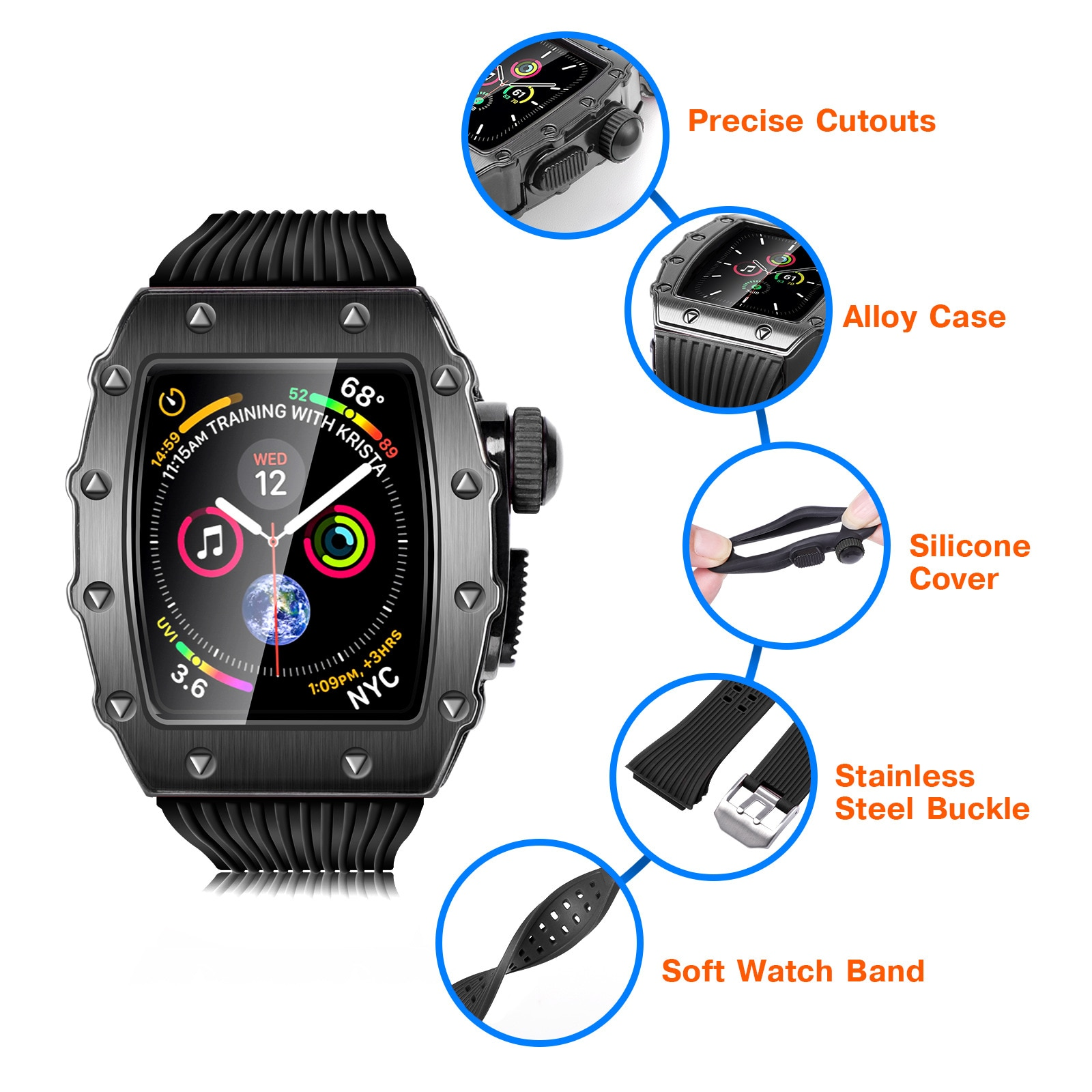 44mm Metal Watch Case+Strap for Apple Watch 6 5 4 Silicone Watch Band for iWatch Series SE Aluminum Alloy Case Modification Kit enlarge