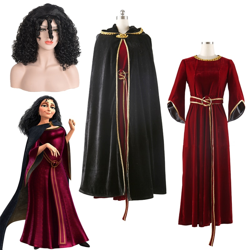 Alta calidad, juegos completos, película de Halloween, Rapunzel, madre, Gothel, disfraz de Cosplay, peluca negra rizada