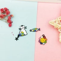 10pcs drop oil sunflower fish cat alloy pendants cartoon enamel charms pendants fit diy earring jewelry accessory handmade fx239