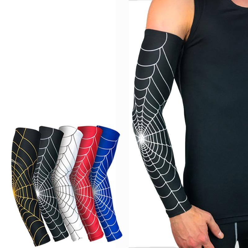 1PCS Kühlen Männer Sport Radfahren Laufen Fahrrad UV Sonnenschutz Manschette Abdeckung Spider web Schutz Arm Hülse Bike Arm wärmer # SD