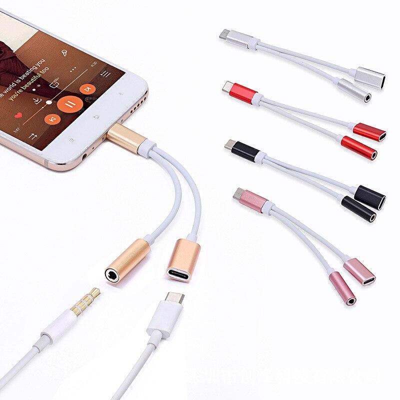 Cabo usb c tipo c para 3.5mm, adaptador de fone de ouvido para huawei, cabo divisor de áudio auxiliar, carregamento de fone de ouvido xiaomi samsung tslm1