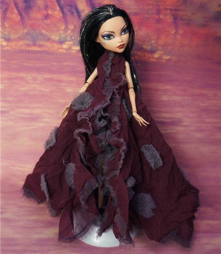 Boneca vestido de noite monstering roupas moda casual usar roupas artesanais roupa boneca conjunto para 1/6 boneca vestido