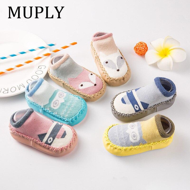 Meias para bebês, meias infantis para bebês, presente de desenho animado para crianças, sola de couro antiderrapante e grossa meias,