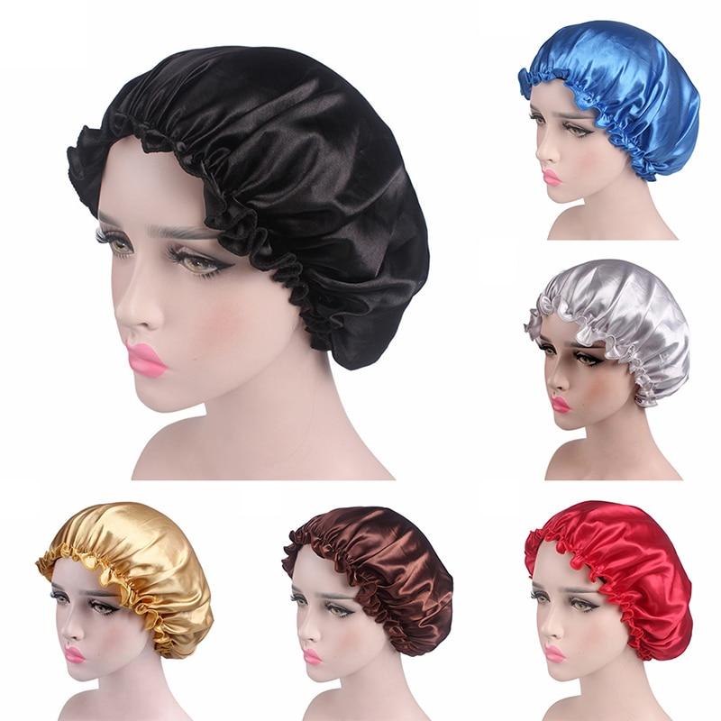 Adjust Shower Caps Hair Satin Bonnet For Sleeping Shower Cap Silk Bonnet Bonnet Femme Women Night Sleep Cap Head Cover
