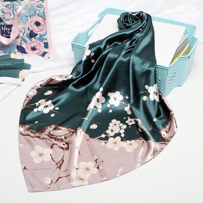 Fashion Silk Satin Women Hair Scarf Floral Print Handkerchief Shawls and Wraps Hijab Scarfs Female 9