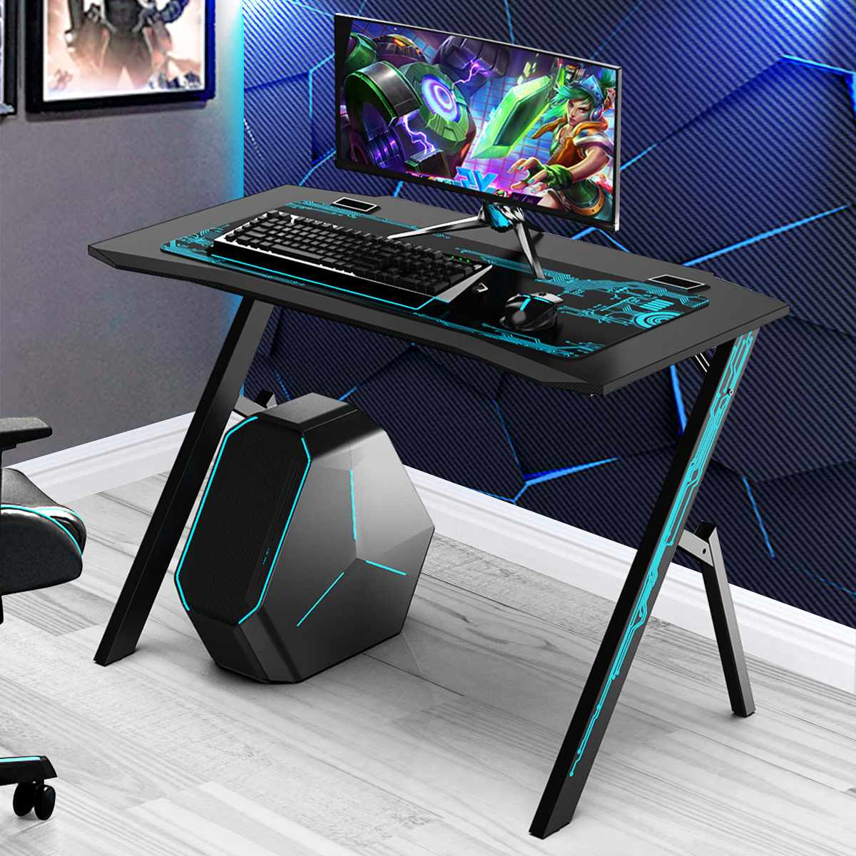 Get NEW 43.3″ Professional Gaming Desk Table Cool Computer Desktop Home Supplies Office Desk Chair With Mouse Pad