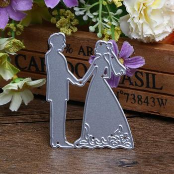 Metal Bride Groom Wedding Silver Cutting Dies Stencils Creative DIY Carbon Steel Scrapbooking Handicraft Accessories