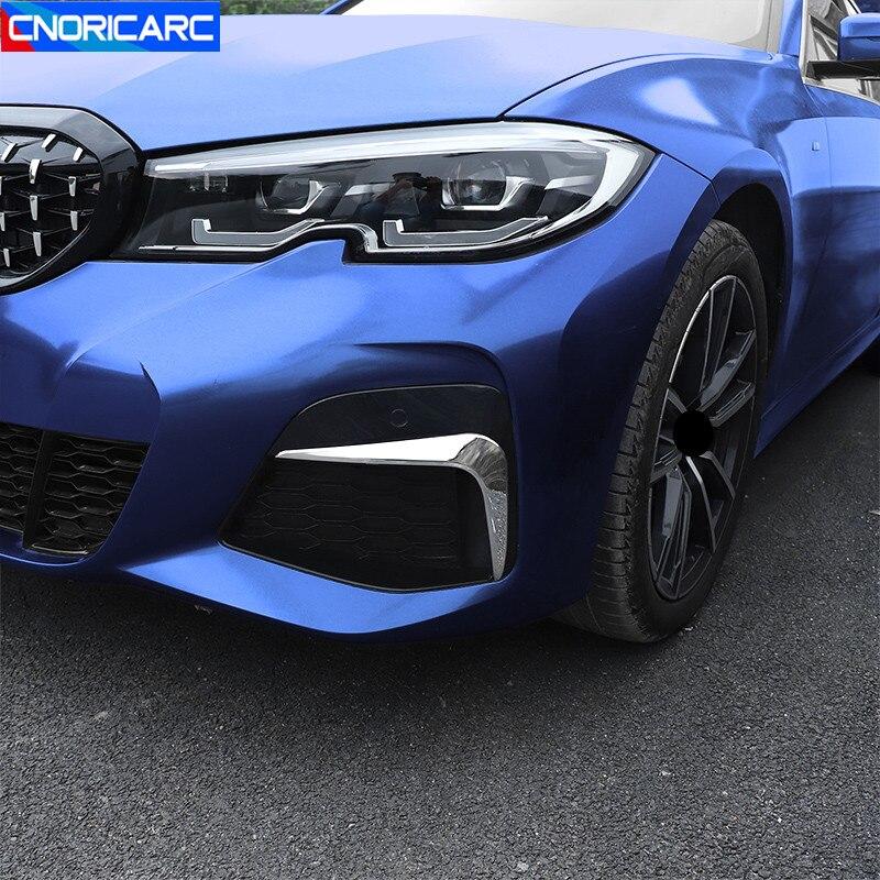 Aço inoxidável frente nevoeiro lâmpada sobrancelha quadro decoração adesivos guarnição para bmw série 3 g20 g28 2020 estilo do carro modificado