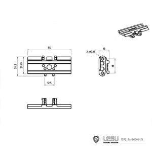 US Stock 1 Piece Tracks Parts Metal for LESU 1/14 Carter 374 Excavator DIY Bulldozer Truck TH15247-SMT3