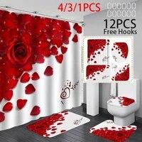 Rideau de douche impermeable a imprime de petales de Rose  tapis de piedestal de salle de bain antiderapant  couverture de couvercle de toilette