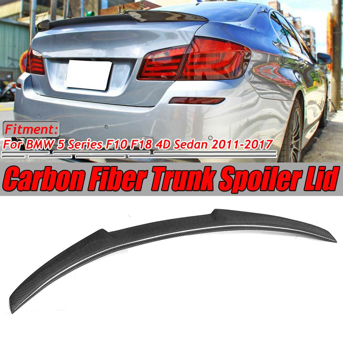 F10 F18 Heckspoiler Flügel Deckel M4 Stil Real Carbon Fiber Auto Hinten Trunk-Boot Lip Spoiler Flügel Für BMW 5 serie F10 F18 2011-2017
