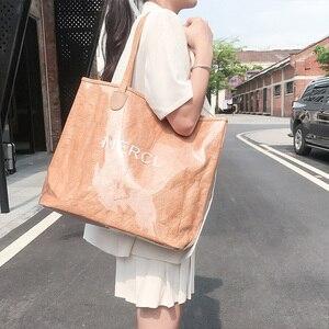 2020 новая водонепроницаемая сумка на одно плечо с буквенным принтом, женская сумка для отдыха, Большая вместительная сумка из ПВХ, прозрачна...