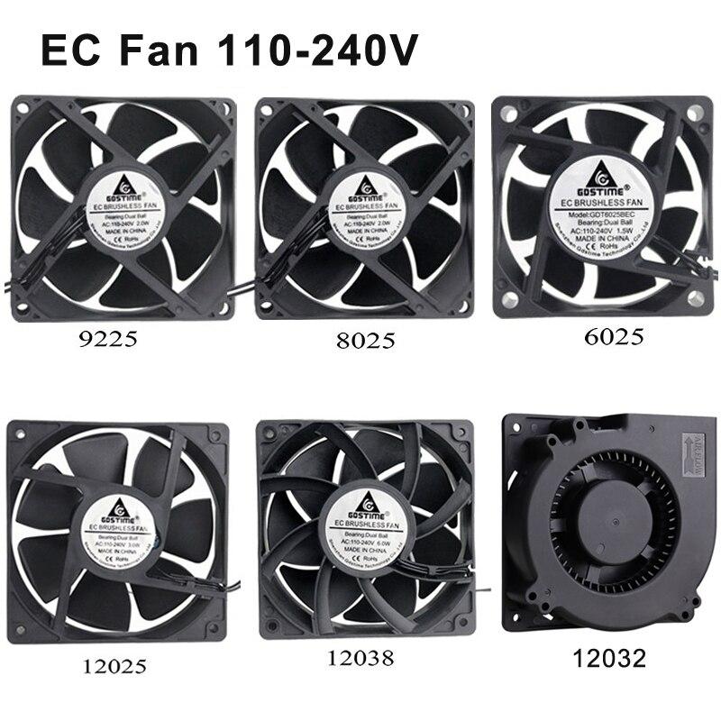 1 pièces Gdstime EC 110V 120V 220V 240V 60mm 80mm 90mm 120mm radiateur ventilateur de refroidissement 80x25mm 2 fils roulement à billes refroidisseur Axial sans brosse