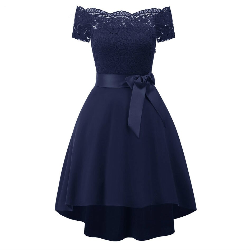 Vestido vintage de manga curta com gola slash, vestido de festa, renda, hi-lo, vestido de dama de honra, casamento, festa de verão 2020