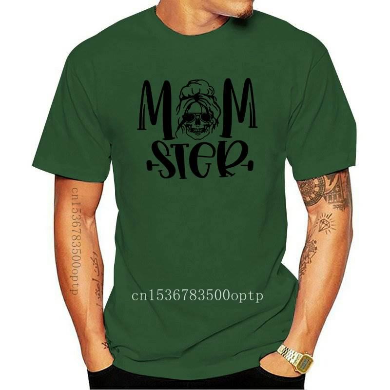 Momster-Camiseta de calavera para mujer, Camiseta divertida con moño desordenado, Camiseta de...