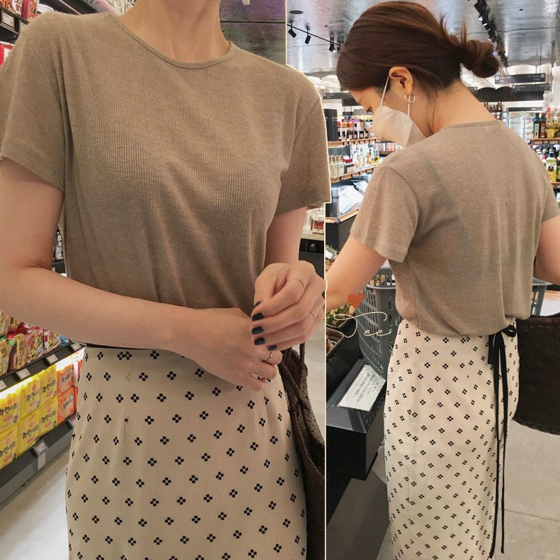 Korean Chic Summer  T-shirt Simple Round Neck Short Sleeve T-shirt Split Lace Up Floral Chiffon Skir