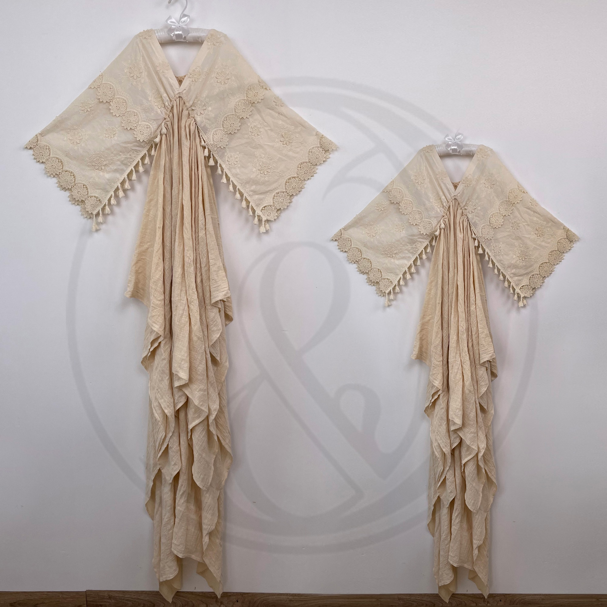 A Set Robe Photo Shoot Props Boho Cotton Kaftan Maternity Dress Evening Party Costume for Women Photography Accessories