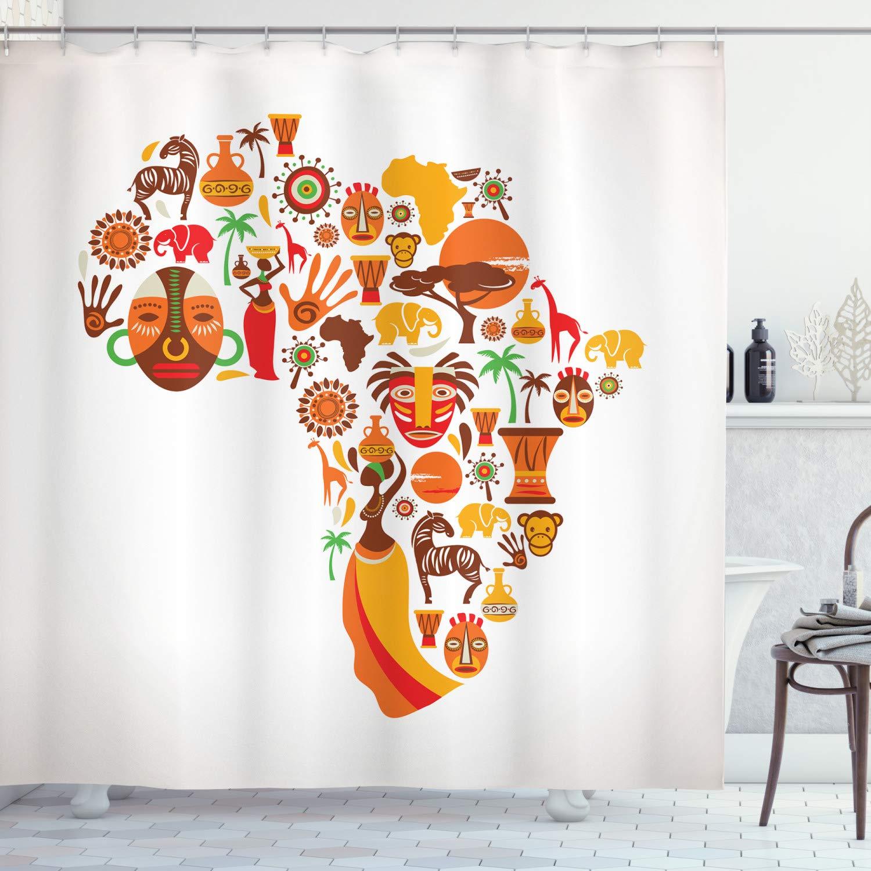 Cortina de ducha Africana mapa diferentes máscaras famosas y arte de estilo de la sabana poliéster tela decoración de baño conjunto con ganchos