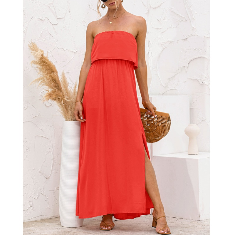 Women Long Dress Strapless Sexy Side Split Beach Chic Summer Streetwear Solid Color Splice 2021 Black Party Holiday Maxi Dresses