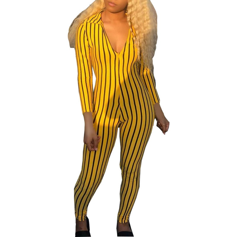 2021 Women Jumpsuit Striped Print Casual Long Sleeve V-Neck Slim Fit Rompers Leotard Loungewear Home