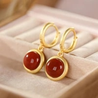 spring and summer new s925 sterling silver natural hetian jade south red earrings light retro classic style womens eardrops ear