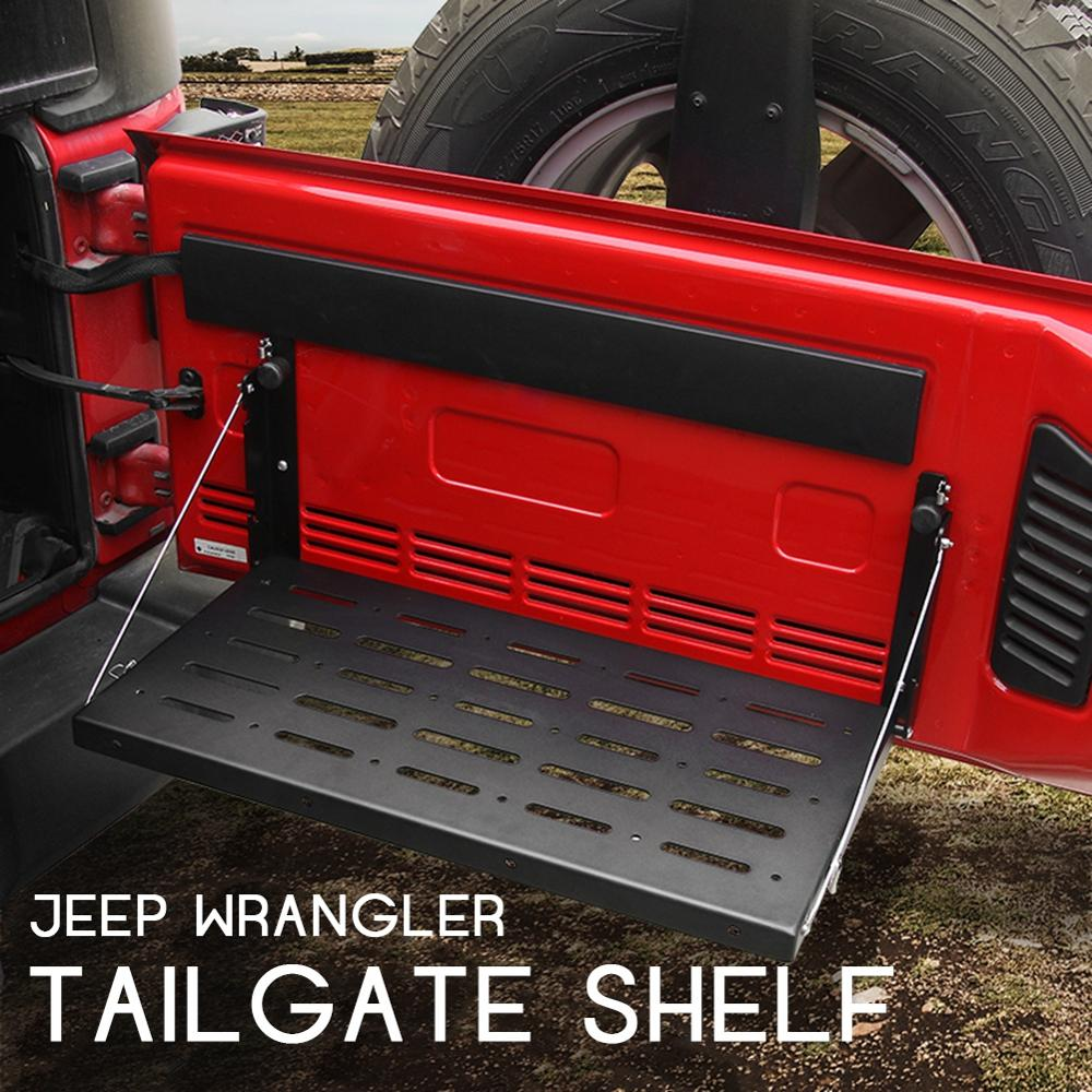 Alloy Matte Black Rear Trunk Door Mounting Tray Foldable Back Shelf Stand Fit for Jeep Wrangler JK 2007-2017