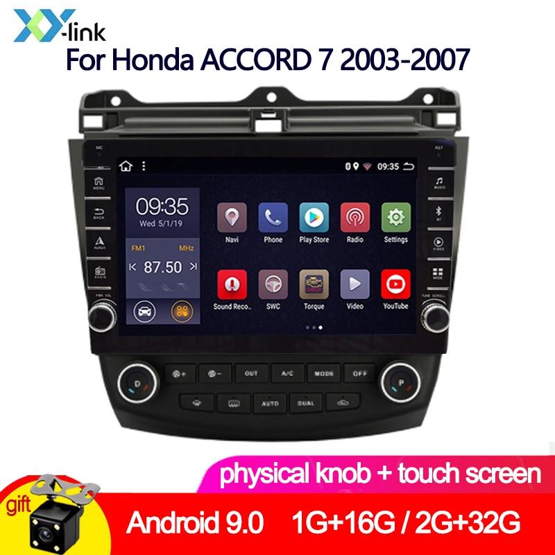 Android 9,0 knob touch 2 + 32G reproductor multimedia de dvd para coche GPS para Honda ACCORD 7 2003-2007 autorradio audio estéreo cámara de visión trasera