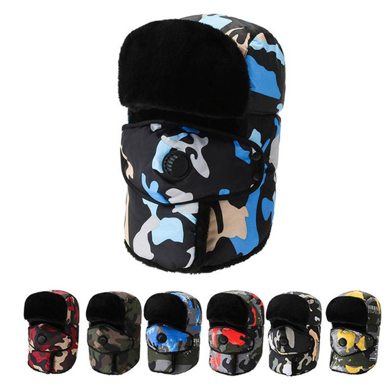Winter Trapper Hat Men's Outdoor Riding Cap Cold Proof Helmet Warm Cotton Earflap Mask Skiing Thicke