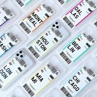 ins international air tickets label city case for iphone 11pro max anti drop tpu clear case for iphone 6 6s 7 8 plus x xs max xr