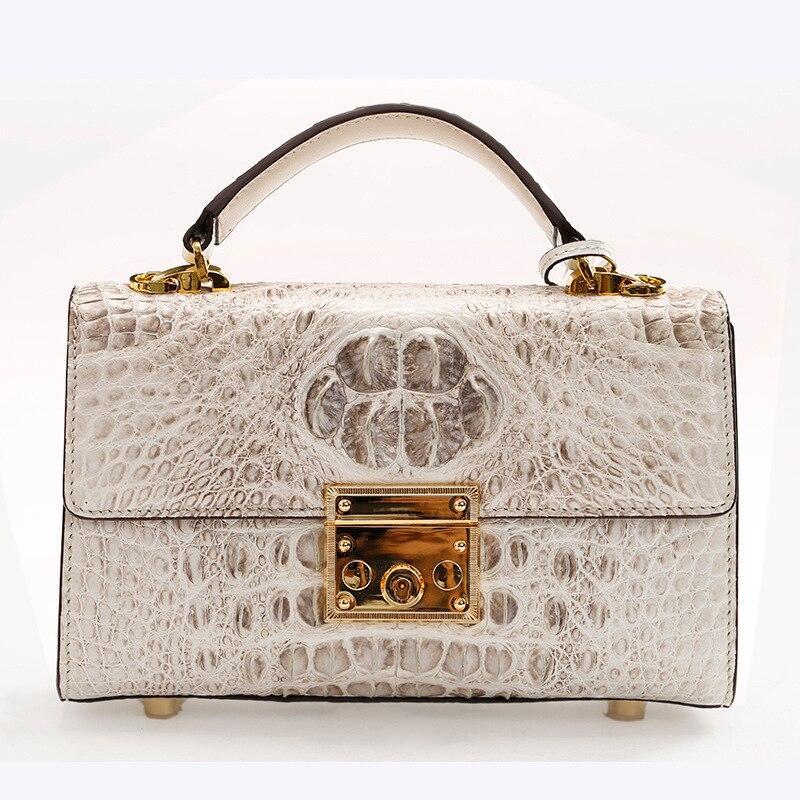 حقيبة جلد التمساح الأبيض للنساء ، صغيرة ، جلد التمساح الحقيقي ، إغلاق ، حقيبة يد ، حقيبة كتف