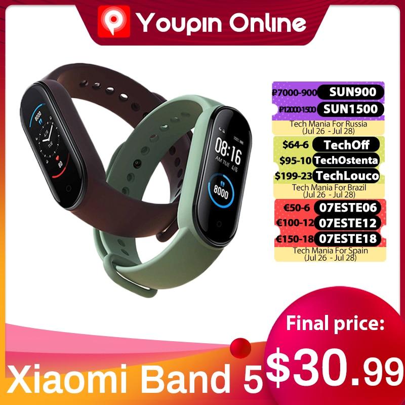 سوار شاومي مي باند 5 NFC الذكي 4 ألوان AMOLED شاشة Miband 5 Smartband Traker بلوتوث رياضي مقاوم للماء سوار ذكي Youpin