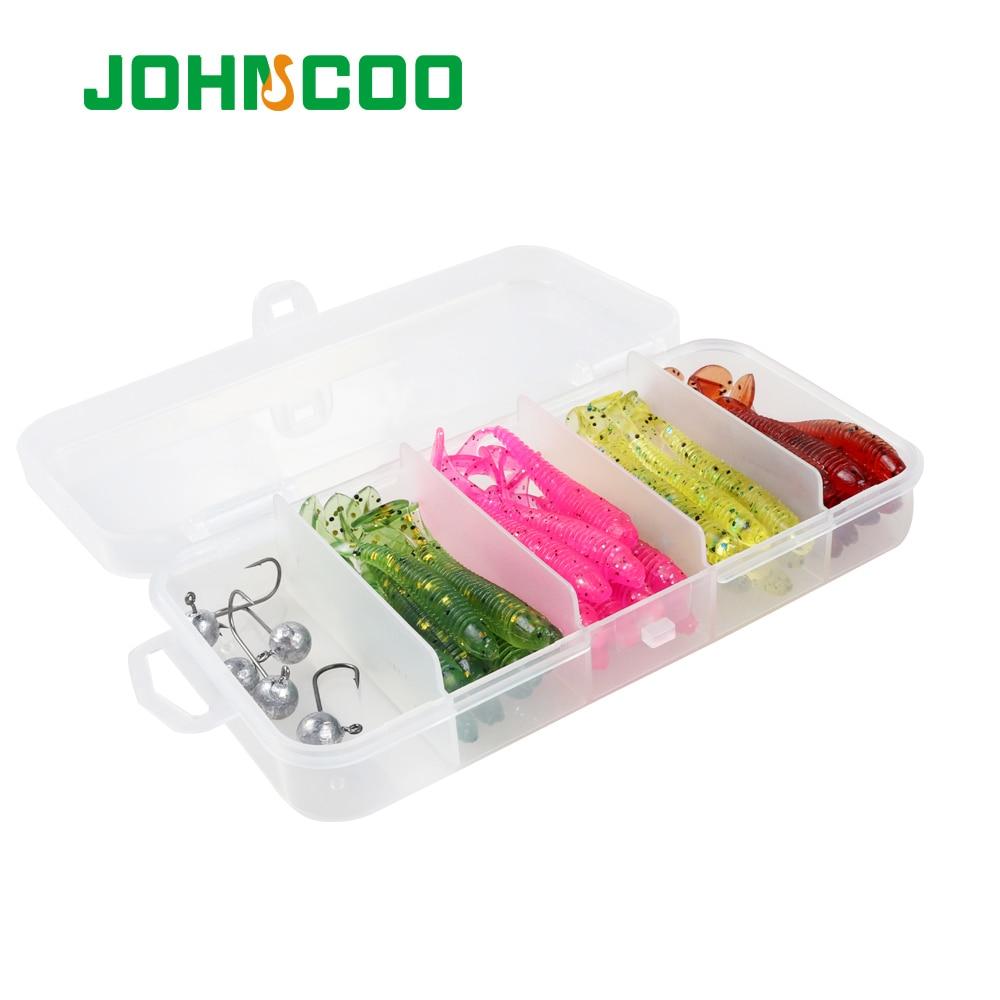 JOHNCOO 45 pièces ensemble de leurre de pêche leurre de ver de pêche leurre de pêche UL ensemble dappâts souples multicolores