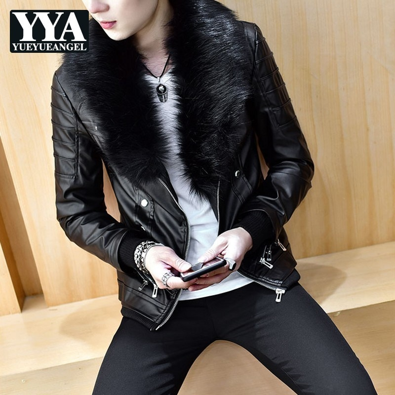 Korean Thick Fleece Liner Motorcycle Faux Leather Windproof Jackets Personality Zip Big Faux Fur Collar Slim Male Short Coats