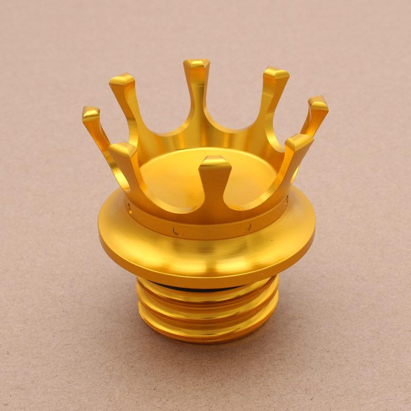 Cafe Racer oro aluminio de descarga de rosca derecha embalse alto King Crown estilo Gas Cap ventilado tanque de combustible para Harley Bobber