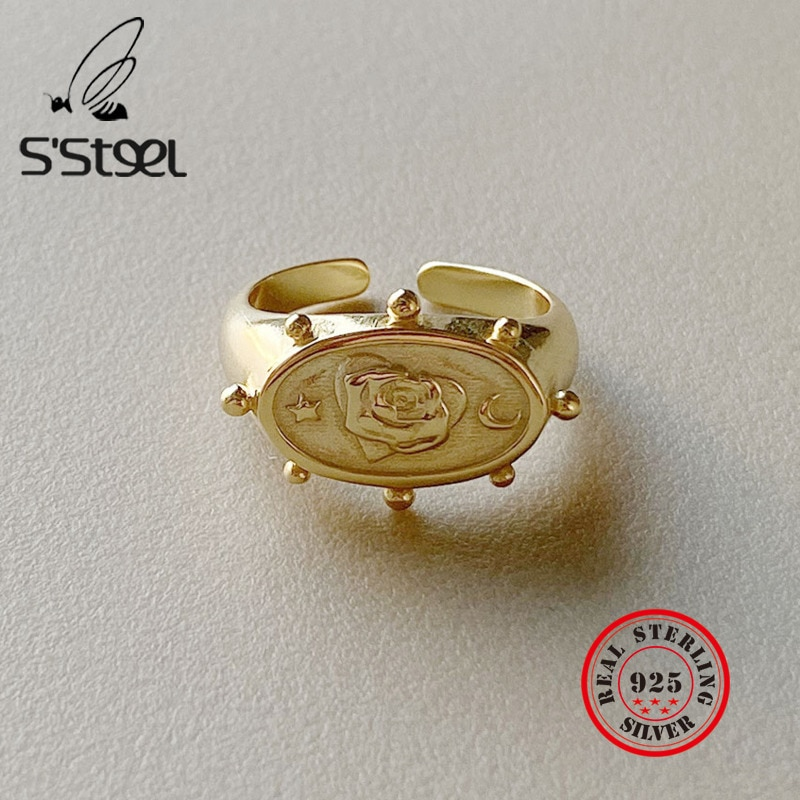 Ssteel aço rosa do vintage anel de ouro real prata esterlina 925 anéis anillos plata para mujer fino jwelry acessórios jóias femininas