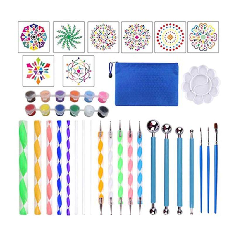 34 шт. набор инструментов мандалы для нанесения краски камень Трафарет Шаблон краски