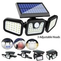 2021 new 74leds solar wall lamp motion sensor led rechargable light three head rotatable outdoor waterproof street wall lamp