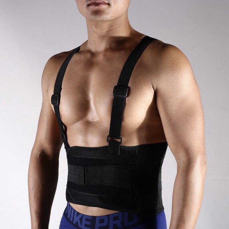 Ajustable a la cintura correa de soporte de los hombres transpirables Lumbar Brace gimnasio levantamiento de pesas corriendo cinturón con hombro