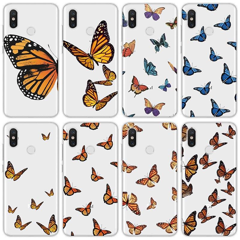 Soft TPU Phone Case For Xiaomi Mi Note 10 A3 9 8 9T Pro CC9 CC9e A2 A1 Lite Explore SE Cute Butterfly Pattern Girl Case Clear