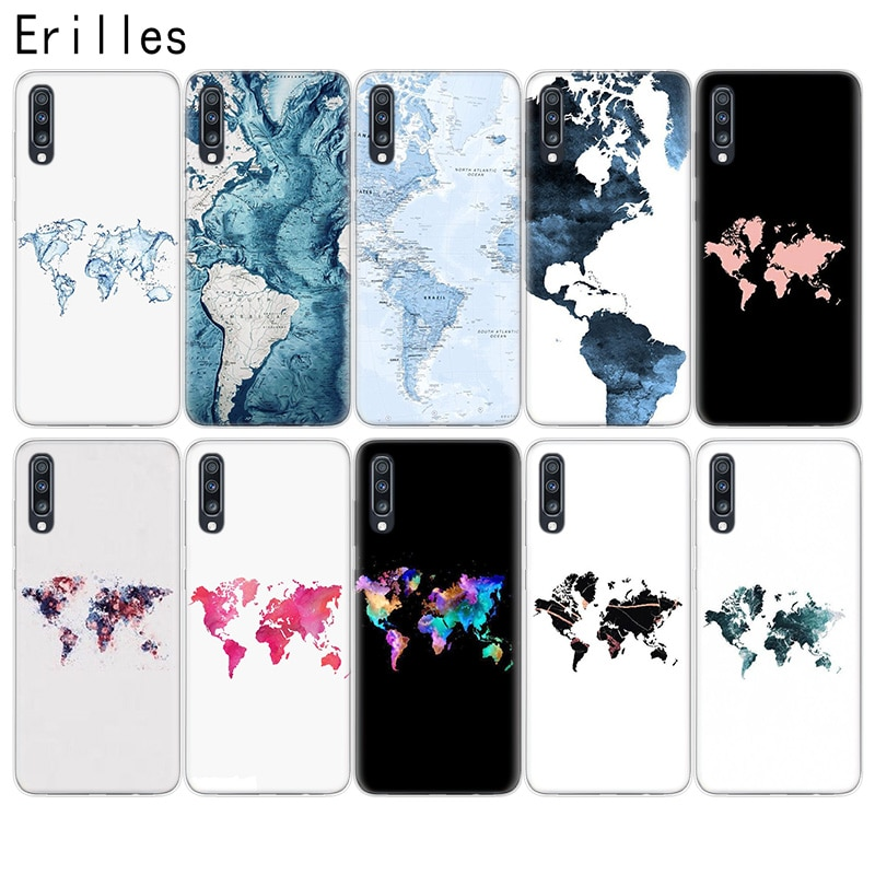 Funda de teléfono con diseño bonito del mapa del mundo de Erilles para Samsung S6, S7, S8, S9, S10, S11 Plus, de silicona para Samsung Note 8, 9, 10 Pro, J4, J6, J8 Co