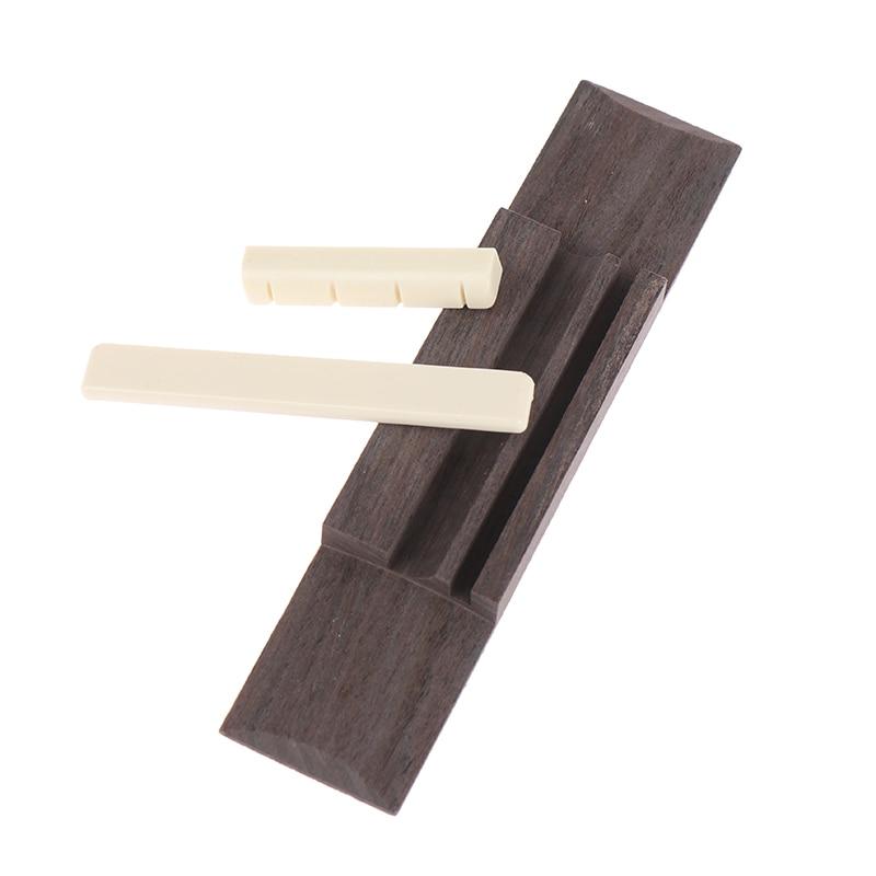 Guitar Bone Slotted Bridge Saddle Nut Set Blank For 12-string Acoustic Ukulele Accessory Replacement