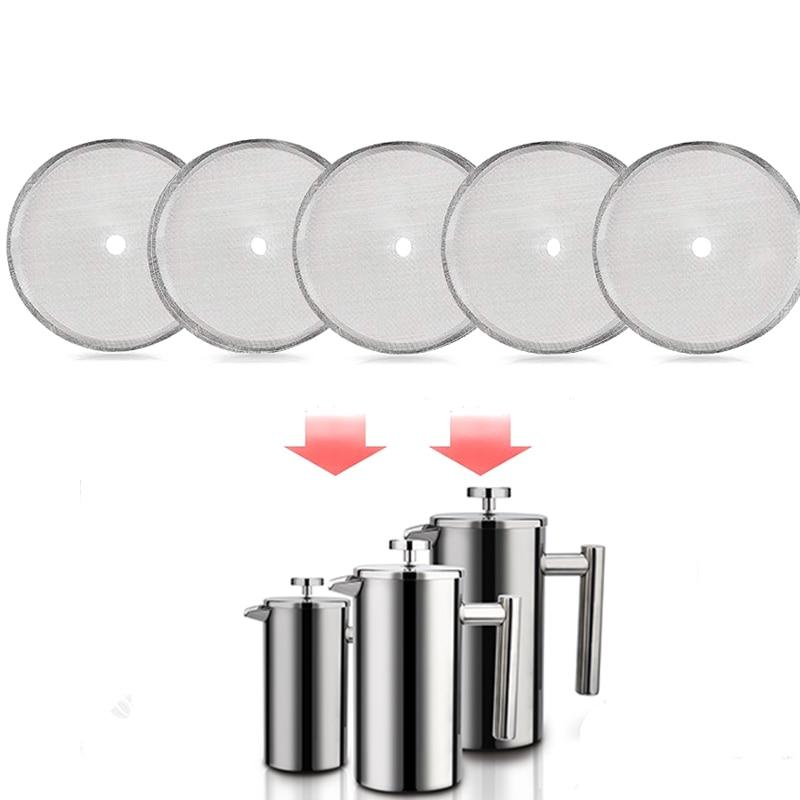 5 шт. многоразовый фильтр для кофе из нержавеющей стали, фильтрующая сетка для Френч-пресс для приготовления кофе, чайный горшок, сменные экраны, аксессуары