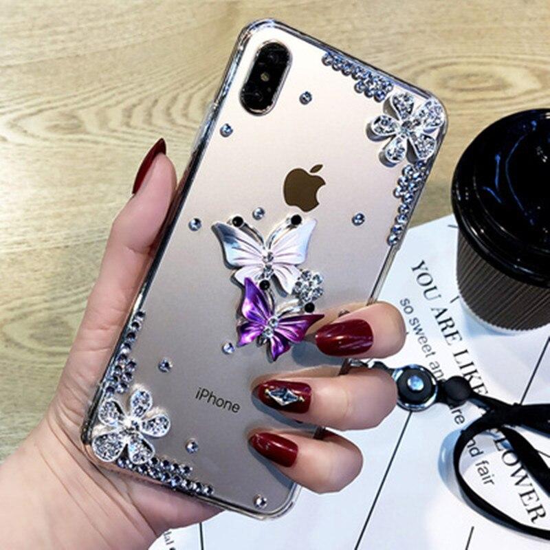 Borboleta diamante flor strass caso para lenovo z6 lite z6 pro k5 k6 k8 nota k4 k5 nota z5 zuk z2 plus capa de telefone a7010