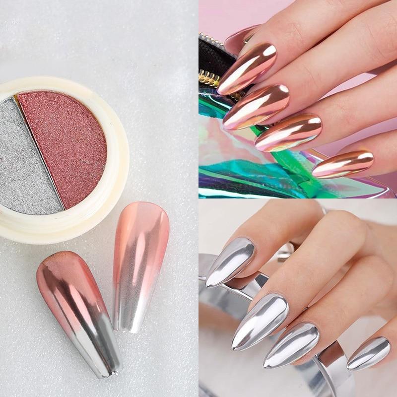 Lemooc Twee Kleur Effen Spiegel Poeder Rose Goud Roze Chrome Glitter Pigment Dust Shimmer Nail Gel Poetsmiddelen Decoratie