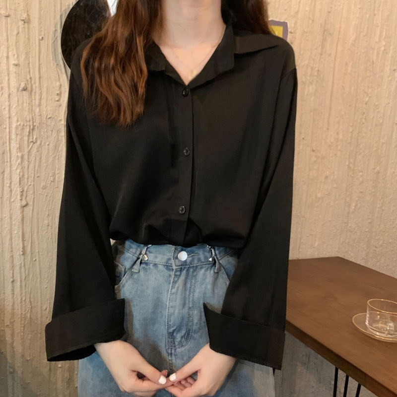 ETOSELL Autumn Women  Shirt Long Sleeve Blouse Office Lady Temperament Loose Tops