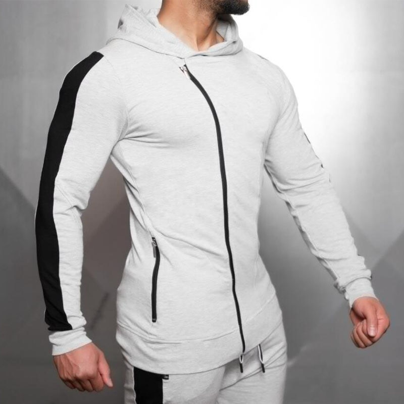 Camiseta deportiva con capucha para hombre, con capucha, con capucha, con cremallera, para hombre
