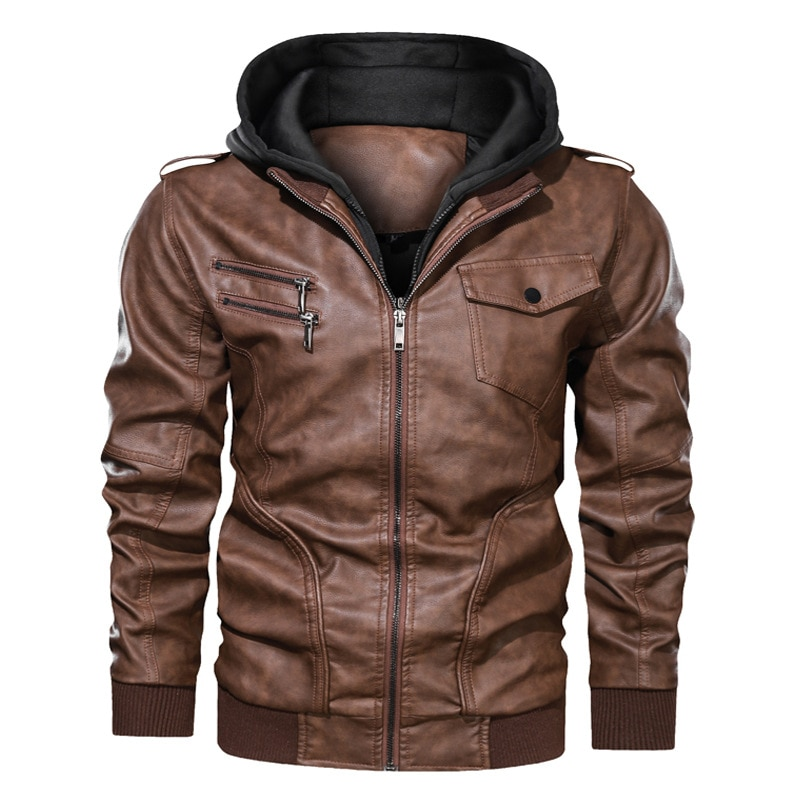 New Mens PU Hooded Jackets Coats Motorcycle Biker Faux Leather Jacket Men Motor Biker PU Jackets Classic Winter Jackets Clothes